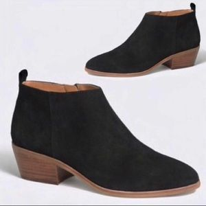 J crew black sawyer suede ankle booties